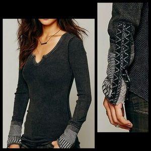 FP Black Ornate Sweater Cuff Waffle Knit Thermal